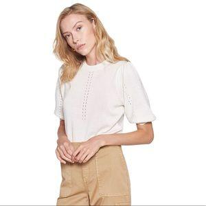 Joie Kollyn Wool & Silk Sweater Top Ivory XS